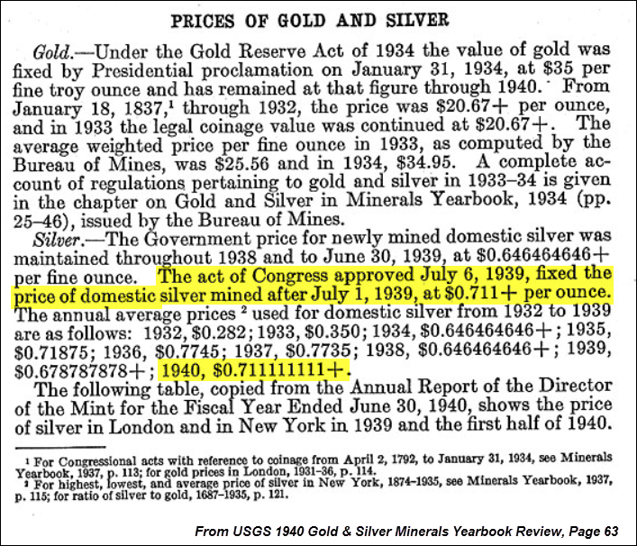 Prices of Gold & Silver 1940