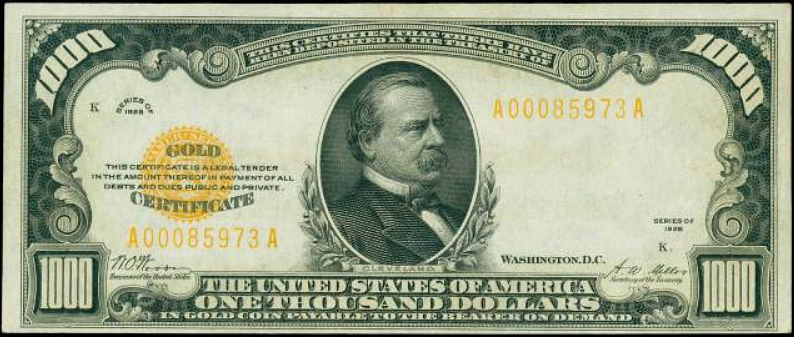 $1,000 Gold Certificate