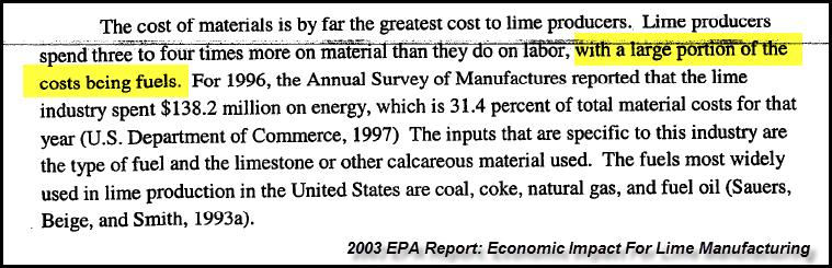 EPA Lime Cost Breakdown