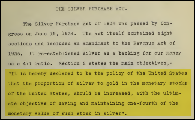 The Silver Purchase Act.